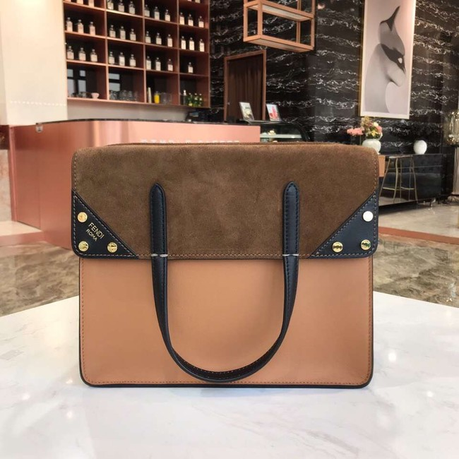 FENDI FLIP REGULAR Multicolor leather and suede bag 8BT302A Apricot&brown