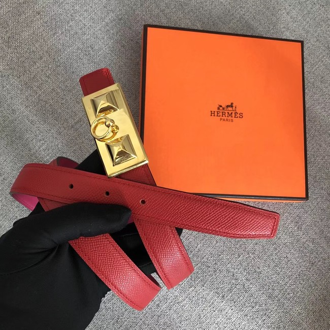 Hermes Collier de Chien belt buckle & Reversible leather strap 24 mm H0521 red