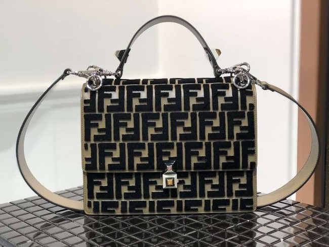 Fendi KAN I Multicolor fabric bag 8BT283A black&Khaki