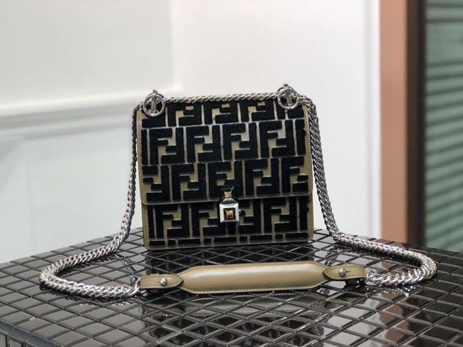 Fendi KAN I SMALL Multicolor fabric mini-bag 8BT0381 black&Khaki
