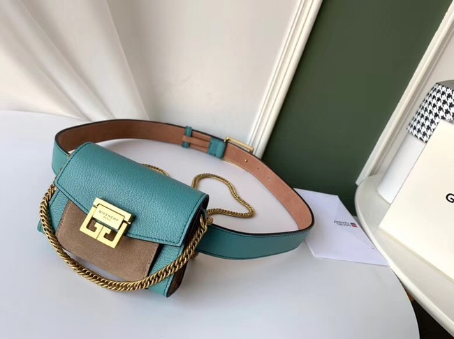GIVENCHY GV3 leather and suede mini bumbag 1127 blue