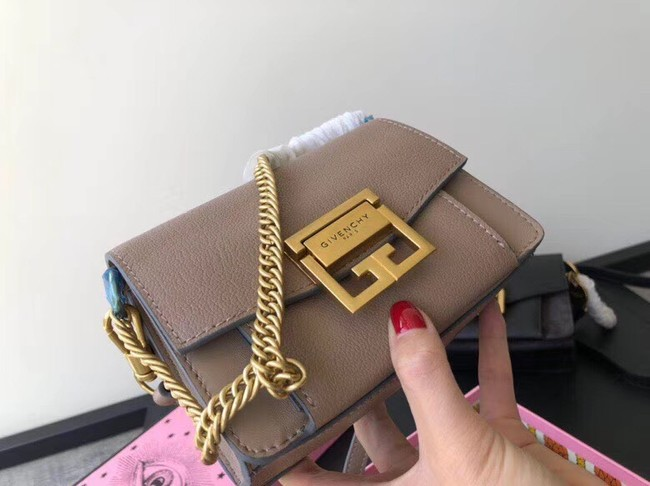 GIVENCHY GV3 leather and suede mini shoulder bag 1116 brown