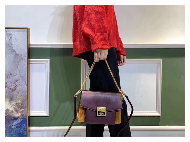 GIVENCHY GV3 leather and suede shoulder bag 9989 Burgundy