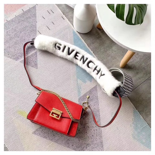 GIVENCHY GV3 leather and suede shoulder bag 9989 red