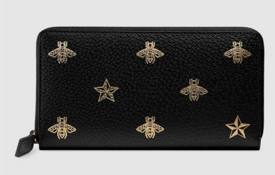 Gucci Bee Star leather zip around wallet 495062 black