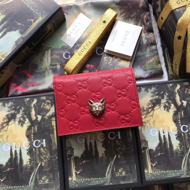 Gucci Signature card case with cat 548057 red