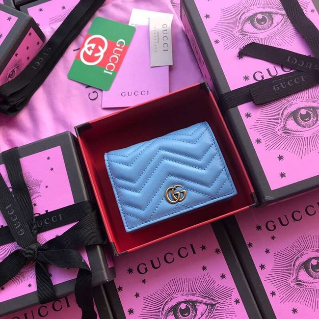 Gucci GG Marmont card case 466492 light blue