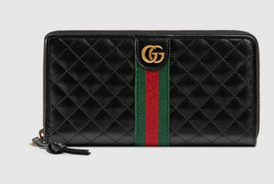 Gucci Leather zip around wallet with Double G 536450 Black