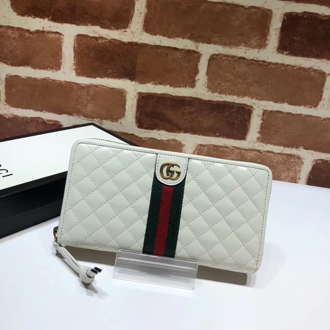 Gucci Leather zip around wallet with Double G 536450 white