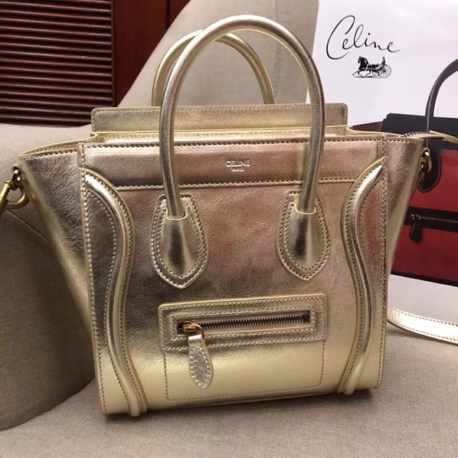 CELINE MICRO LUGGAGE HANDBAG IN LAMINATED LAMBSKIN 189793 GOLD