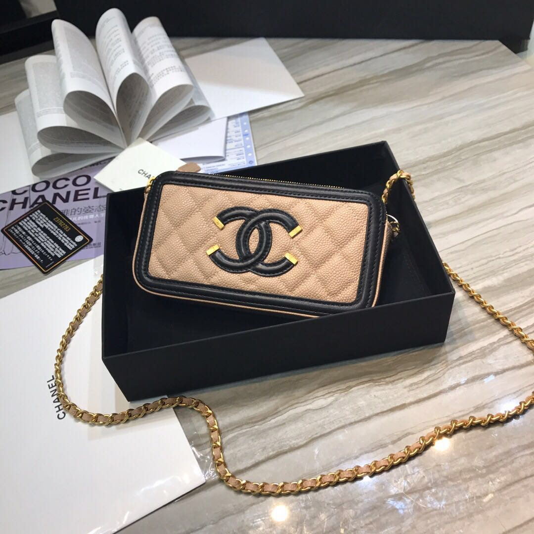 Chanel Classic Clutch with Chain Grained Calfskin & gold-Tone Metal A84450 apricot