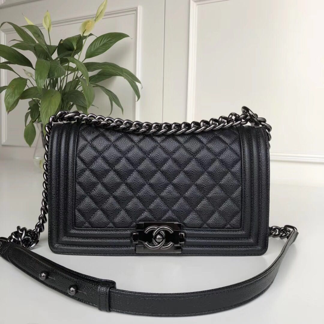 Chanel Leboy Original Calfskin leather Shoulder Bag A67086 black & gun-Tone Metal