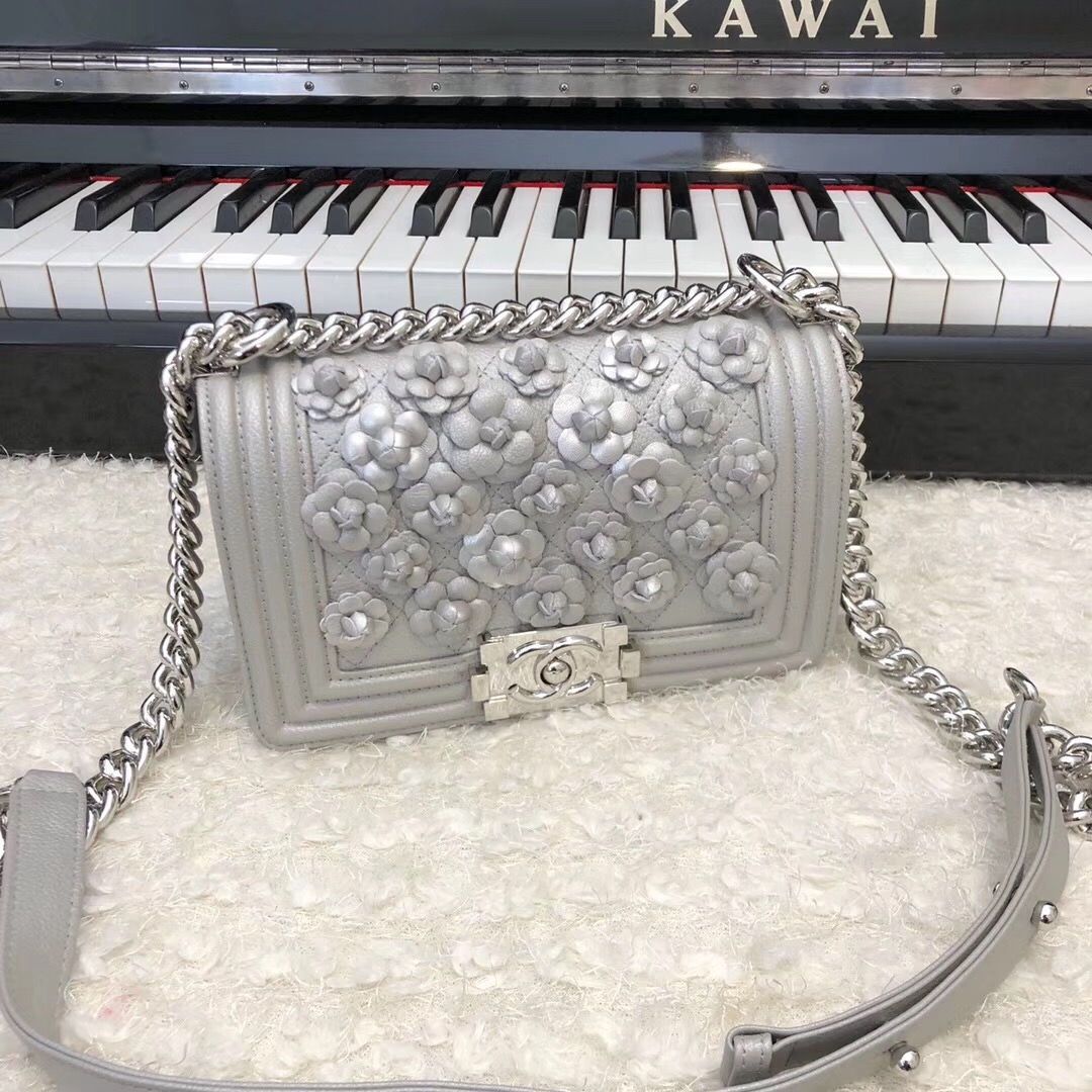 Chanel Leboy Original Calfskin leather Shoulder Bag E67085 silver & silver-Tone Metal