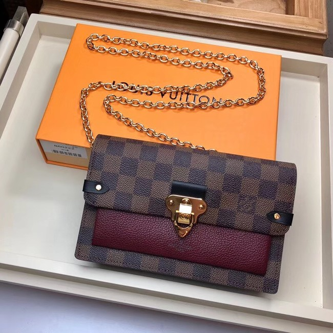 Louis Vuitton original VAVIN CHAIN WALLET N60237 Lie de Vin