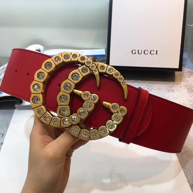 Gucci Wide leather with crystal Double G buckle 550110 red