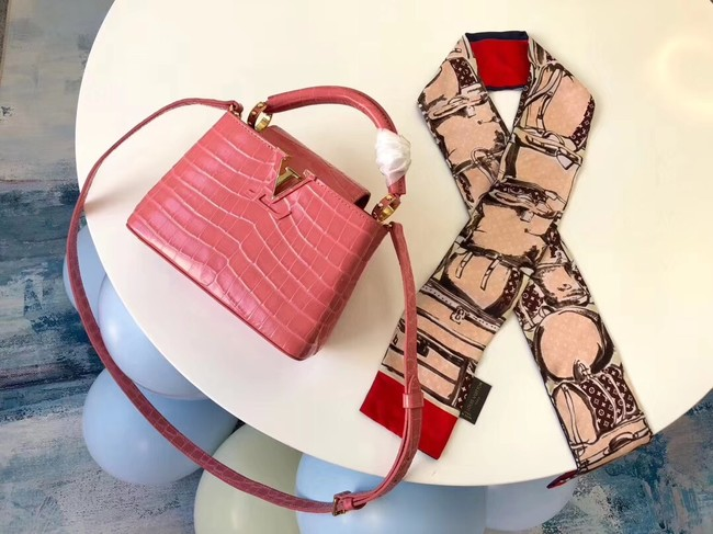 Louis vuitton original crocodile CAPUCINES PM M94587 pink