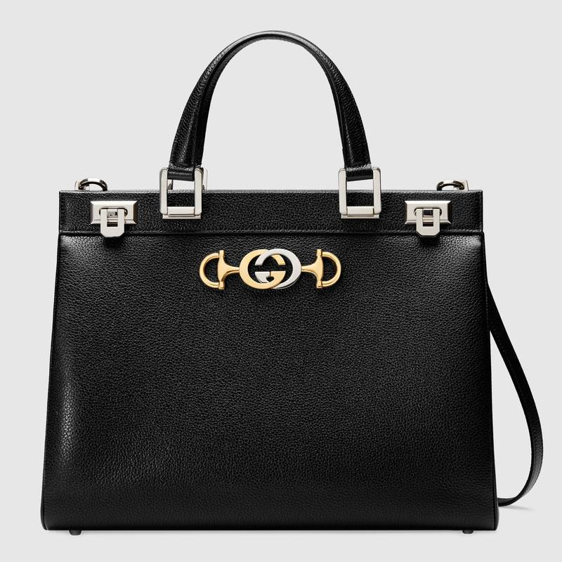 Gucci Zumi grainy leather medium top handle bag 564714 black