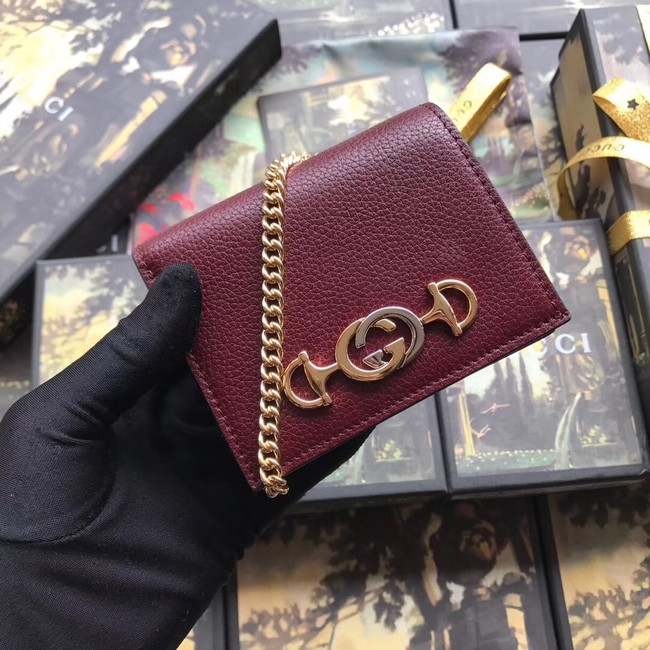 Gucci Zumi Card Holder 570660 Bordeaux