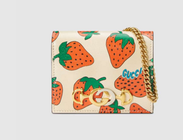 Gucci Zumi Card Holder 570660 Strawberry