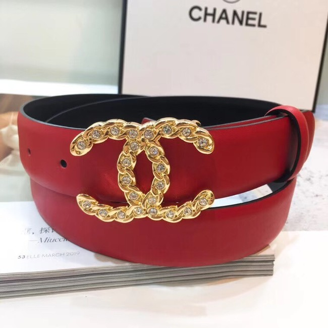 Chanel Calf Leather Belt Wide with 30mm 56602