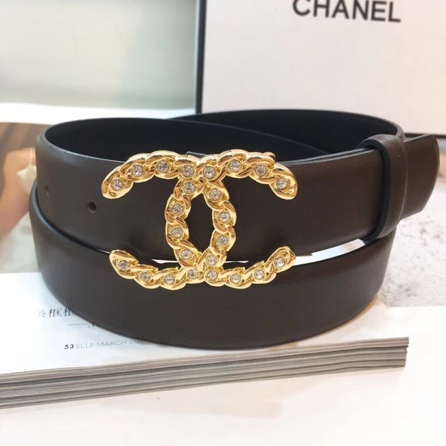 Chanel Calf Leather Belt Wide with 30mm 56603