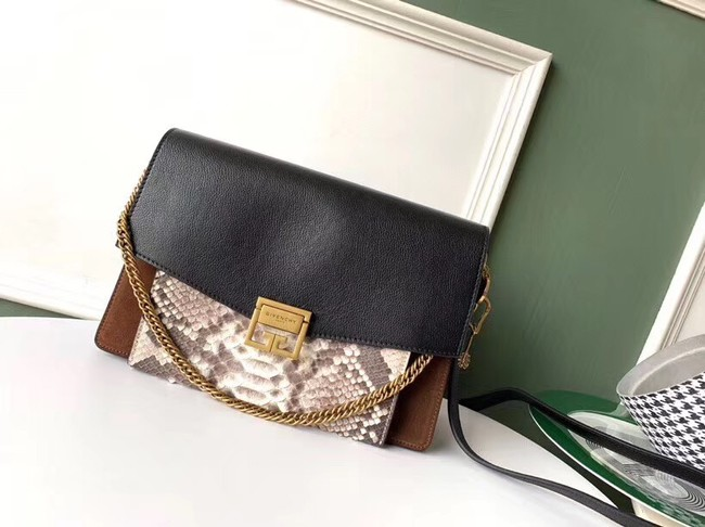 GIVENCHY GV3 python and leather shoulder bag 61433 black