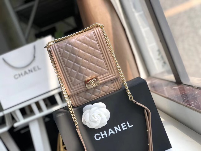Boy chanel handbag Grained Calfskin & Gold-Tone Metal AS0130 brown