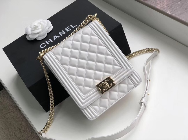 Boy chanel handbag Sheepskin & Gold-Tone Metal AS0130 white