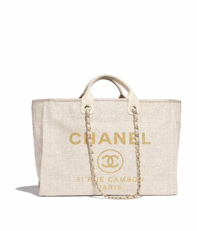 Chanel Original Canvas Leather Tote Shopping Bag 92298 Offwhite