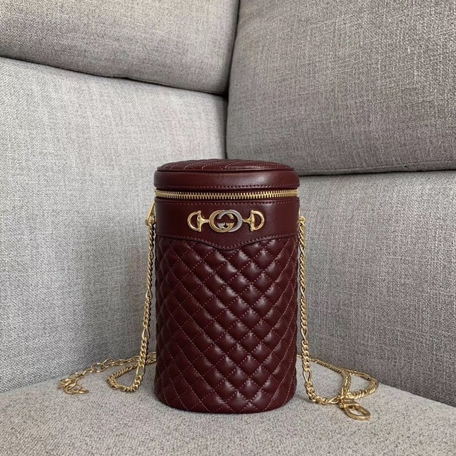 Gucci Quilted leather belt bag 572298 Burgundy
