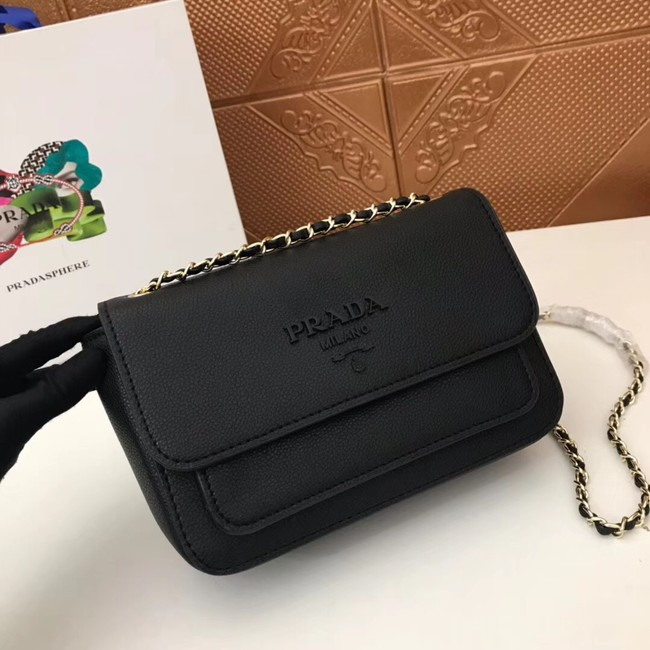 Prada Calf leather shoulder bag 3011 black