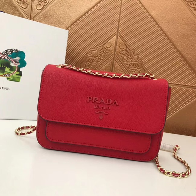 Prada Calf leather shoulder bag 3011 red