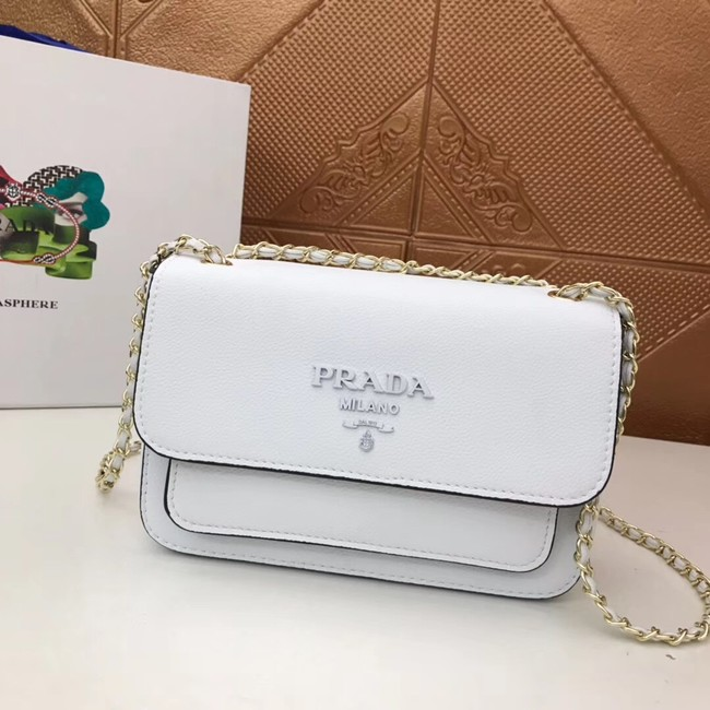 Prada Calf leather shoulder bag 3011 white