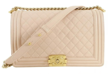 Chanel Leboy Original Caviar leather Shoulder Bag apricot A67086 Gold