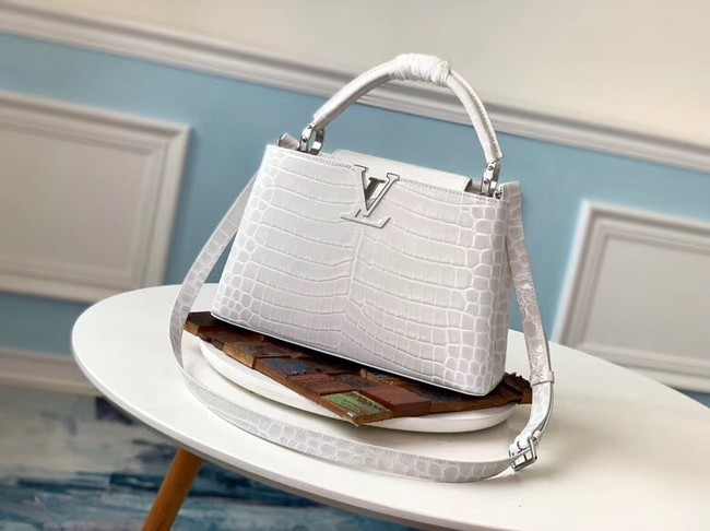 Louis vuitton original crocodile CAPUCINES PM M53665 cream