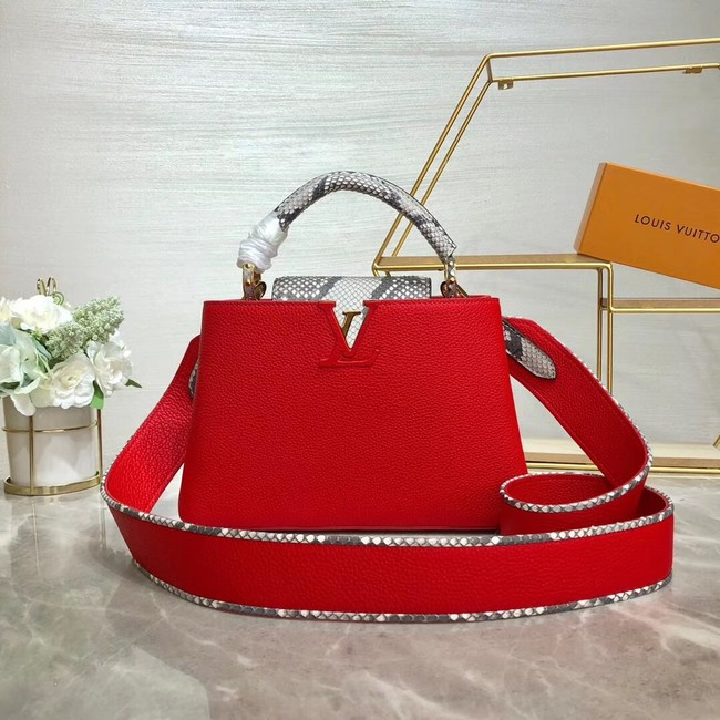 Louis vuitton original taurillon leather Capucines BB M48865 red