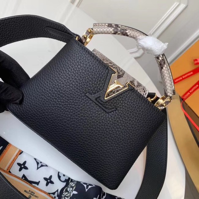 Louis vuitton original taurillon leather Capucines Mini N95509 black