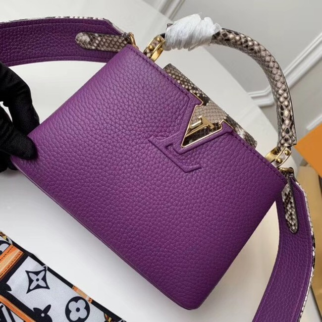 Louis vuitton original taurillon leather Capucines Mini N95509 purple