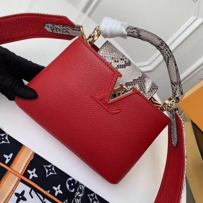 Louis vuitton original taurillon leather Capucines Mini N95509 red