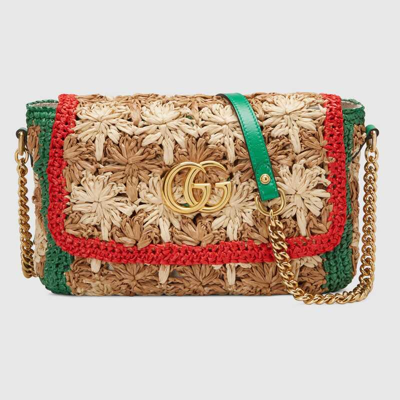 Gucci GG Marmont raffia small shoulder bag 574433 Red and green