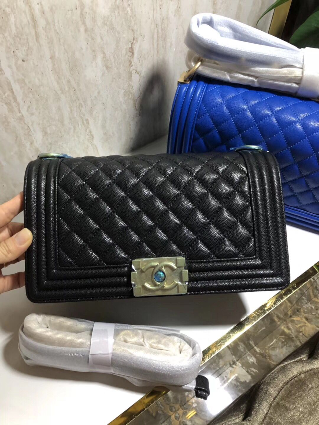Chanel Boy Flap Original Caviar Leather Shoulder Black Bag A67086 Silver
