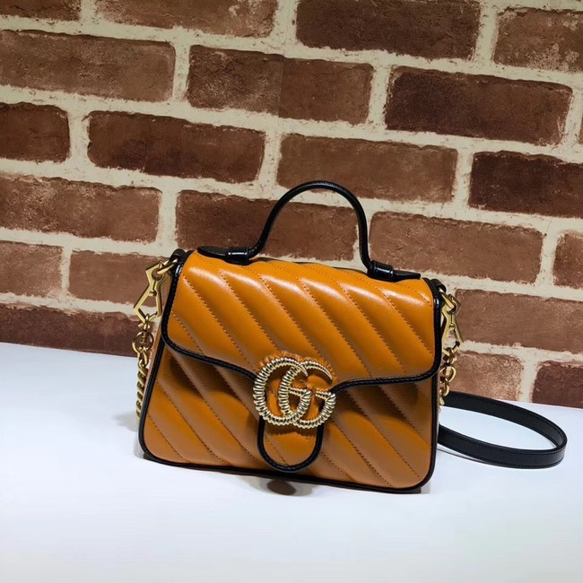 Gucci GG Marmont Mini Top Handle Bag 583571 Cognac