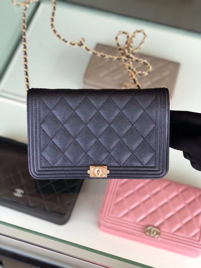 BOY CHANEL Original Wallet on Chain & Gold-Tone Metal B80287 black
