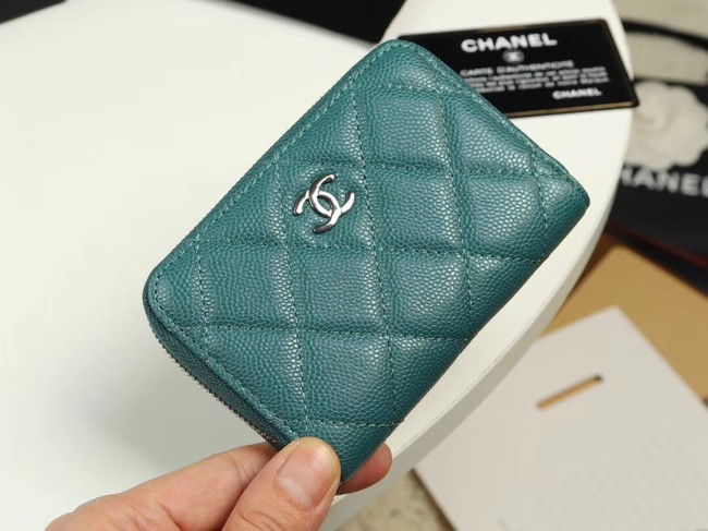 Chanel classic card holder Grained Calfskin & silver-Tone Metal A69271 green