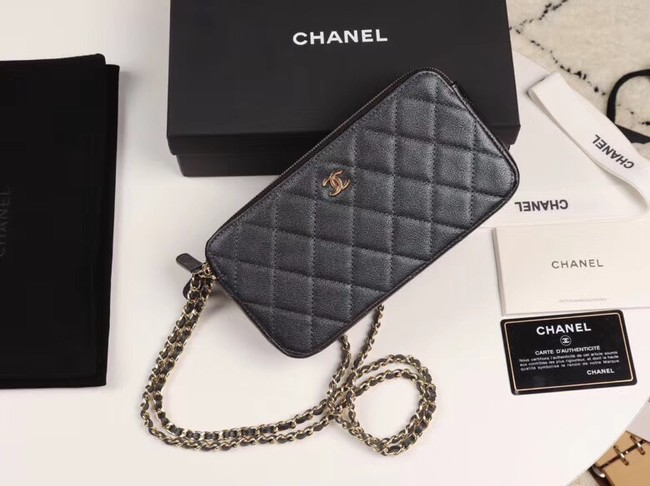 Chanel Calfskin & Gold-Tone Metal A82527 black