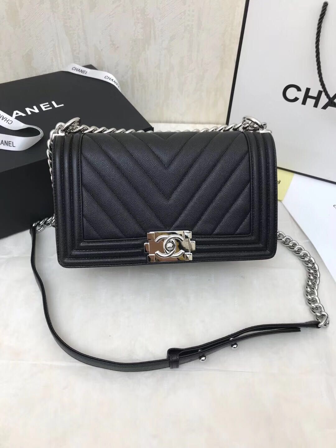 Chanel Boy Flap Caviar Original V Leather Shoulder Black Bag A67086 Silver