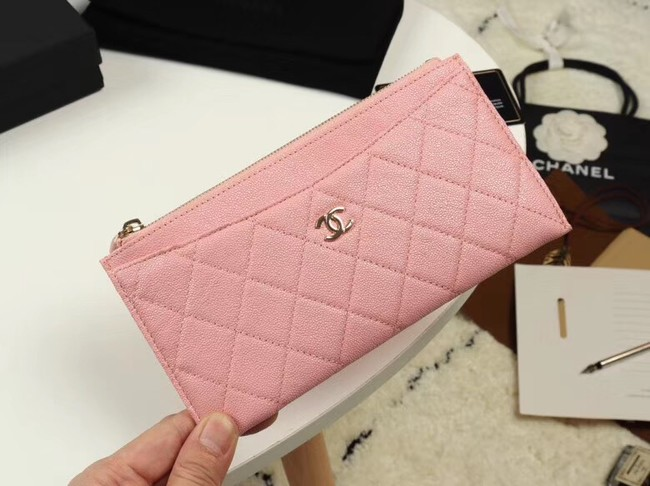 Chanel Calfskin Leather & Gold-Tone Metal A84107 light pink