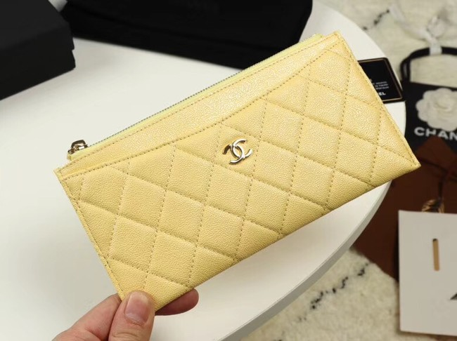 Chanel Calfskin Leather & Gold-Tone Metal A84107 yellow