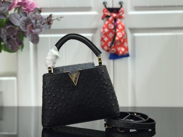 Louis vuitton original Ostrich pattern CAPUCINES BB M94587 Eau de Black
