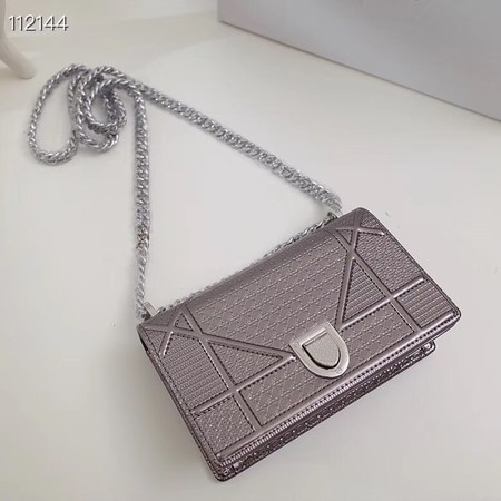 Dior DIORAMA leather Chain bag S0328 Silver grey